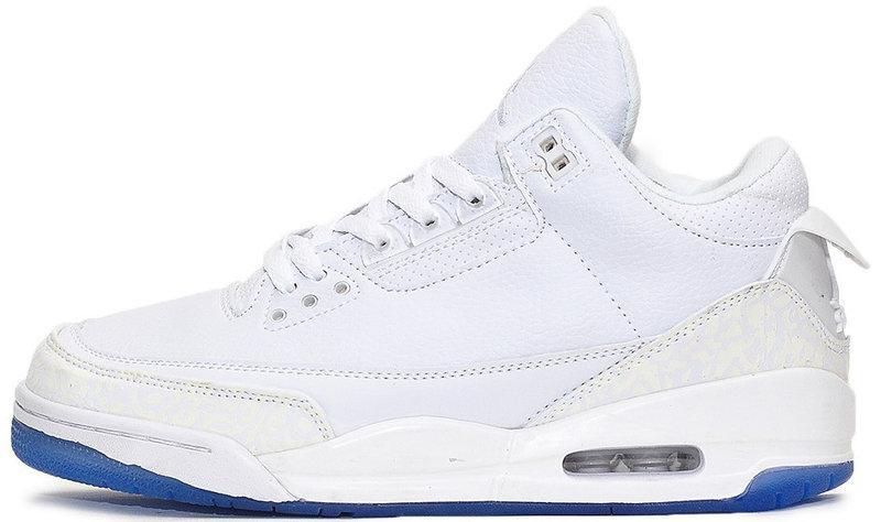 "Баскетбольные кроссовки Nike Air Jordan 3 ""White/Blue"" (Найк Аир Джордан) белые"