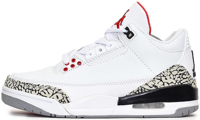 "Баскетбольные кроссовки Nike Air Jordan 3 ""White/Black/Red"" (Найк Аир Джордан) белые"