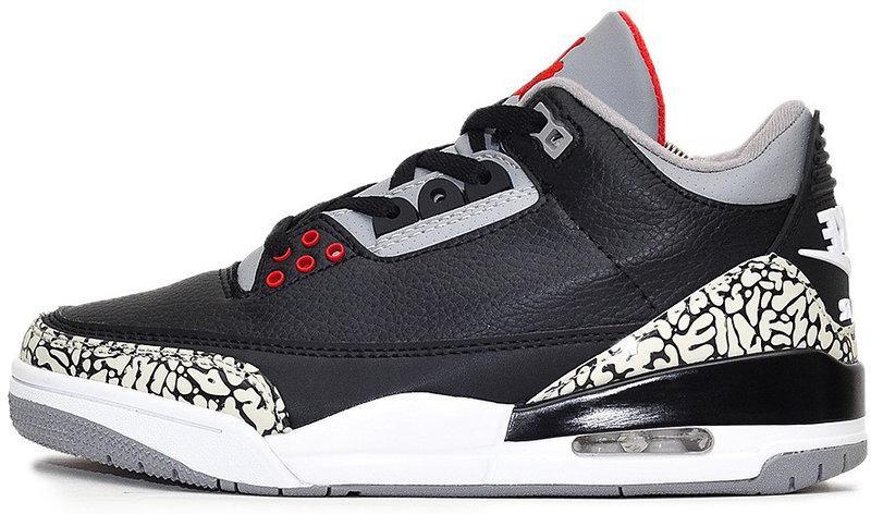 "Баскетбольные кроссовки Nike Air Jordan 3 ""Black/White/Gray/Red"" (Найк Аир Джордан) черные"