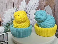 Набор мыла две свинки в корзинках, ручная работа. Общий вес 500 г. Крутой подарок к новому году 2019