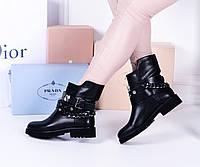 Женские ботинки черные ремешок камни, фото 1