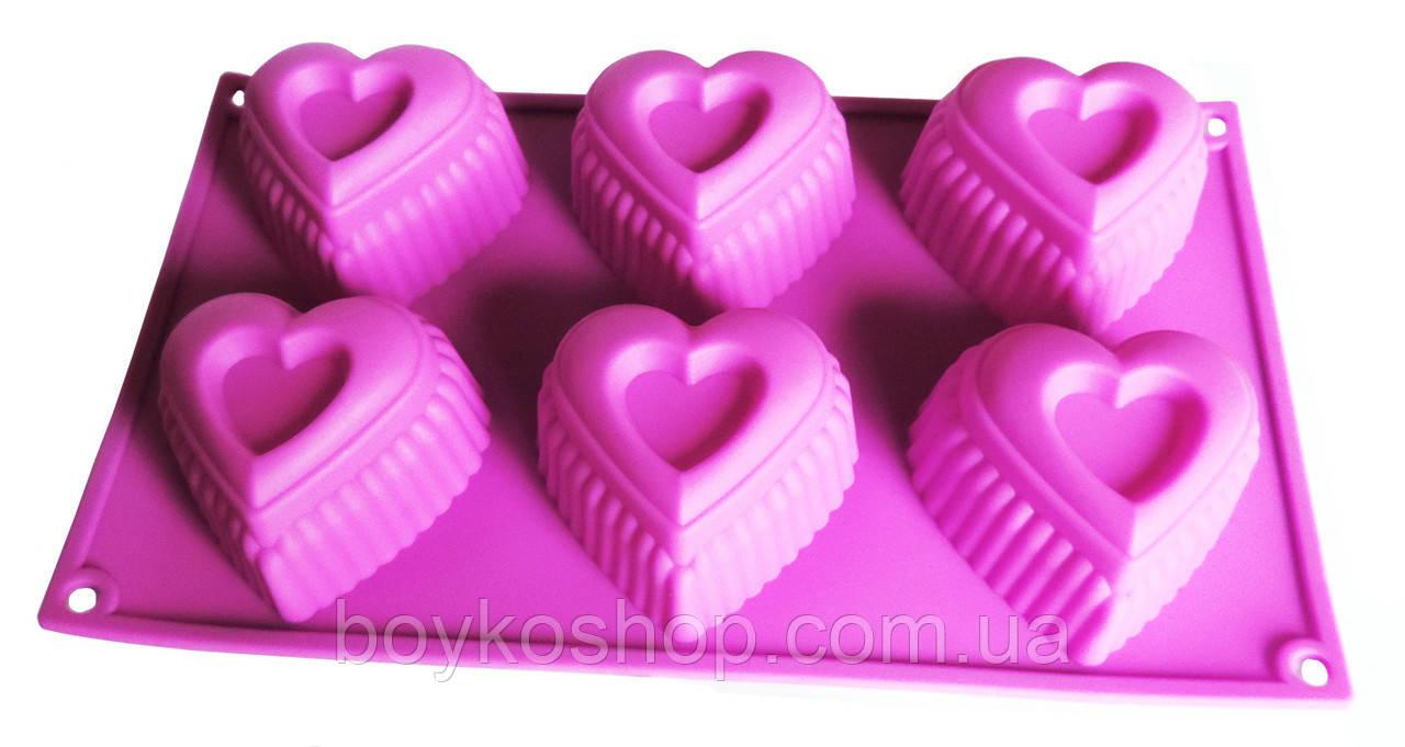 Форма 6 силиконовых сердец