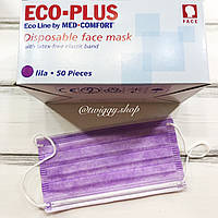 Защитная медицинская трехслойная цветная маска 1 шт. (лиловый) Eco Plus Med Comfort