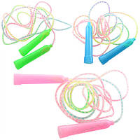Скакалка MS 0827 195см, веревка резина, пластик.ручки, 3цвета,