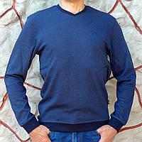 Лонгслив мужской синий с вырезом мыс, фото 1