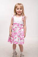 """Летние платья для девочек """"Глория"""" цветы+белый Код:11544"""