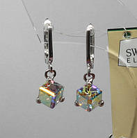 "Серьги серебряные ""Swarovski Куб Д6 Хамелеон"", фото 1"
