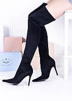 Женские ботфорты черные острый нос каблук 11,5 см