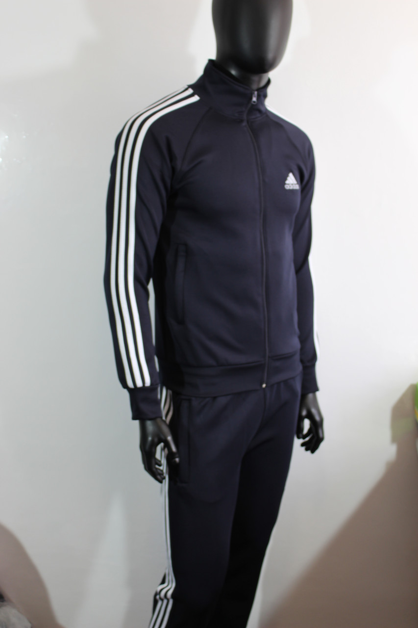 28ffbb11 Мужской спортивный костюм Адидас эластик синий цвет купить -  Интернет-магазин