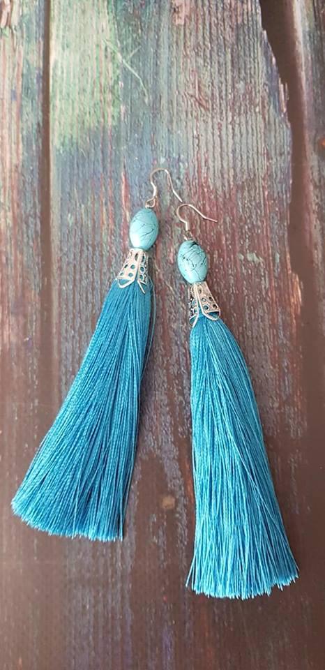 Серьги-кисти голубые