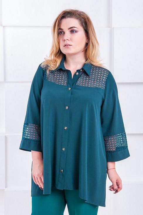 Женская рубашка размер плюс Эйлин малахит (52-66) - FaShop Женская одежда от 3e57f7c5141