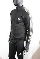Мужской спортивный костюм Адидас эластиковый черный цвет заказать не дорого