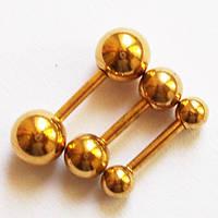 Набор штанг (3 шт.), длина 6 мм для пирсинга ушей с шариками 3, 4, 5 мм. Сталь 316L, золотое анодирование., фото 1