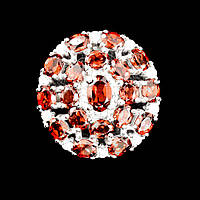 Кольцо с Гранатами и фианитами, фото 1