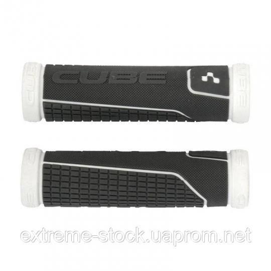 Грипсы Cube Perfomance Grips, чёрно-белые, с заглушками, резиновые