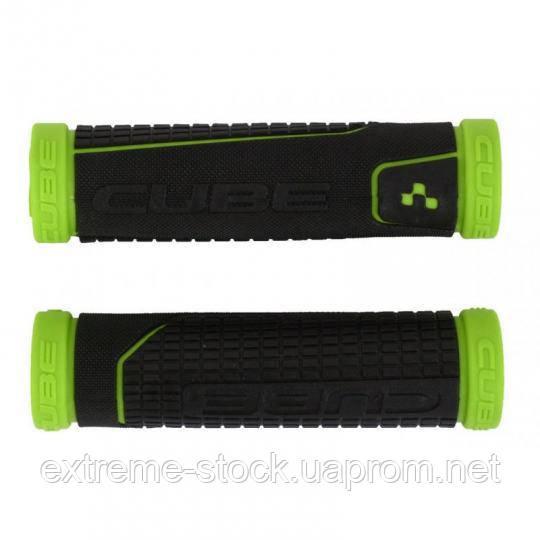 Грипсы Cube Perfomance Grips, чёрно-зелёные, с заглушками, резиновые