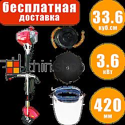 Мотокоса Eurotec 33.6 куб.см, с ножом и леской, 3.6 кВт, бензокосилка, коса, бензокоса