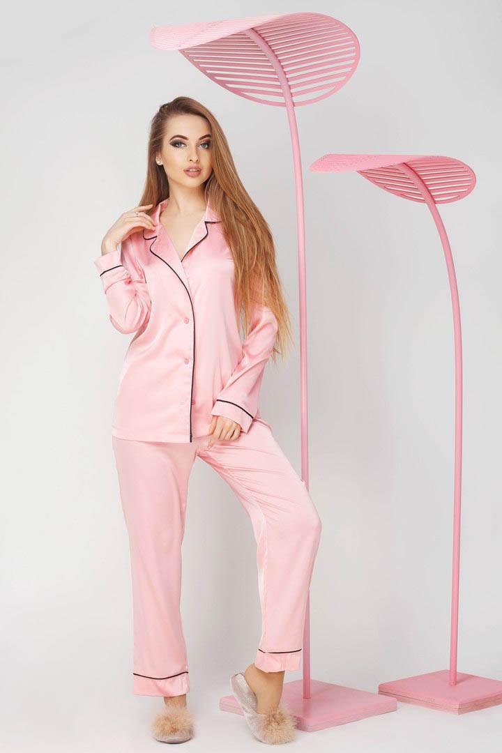 Пижама шелковая с кантом женская