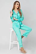 Пижама женская шелковая рубашка и брюки  с кантом хит 2018