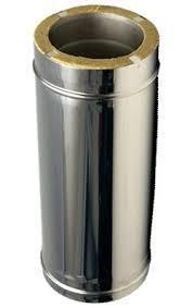 Дымоходная труба из нержавейки в нерж. кожухе L-1м 125/200