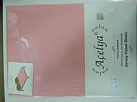 Трикотажная простыня 160*200 на резинке +2 наволочки 70*70 розовая