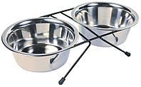 Подставка под миски 0,75 л + 2 миски в комплекте (для собак), Trixie™