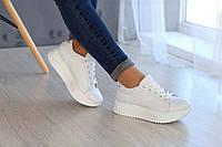 Белые кожаные женские кроссовки , фото 1