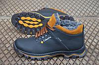 Зимние ботинки в стиле Columbia, натуральная шерсть, кожа, черные