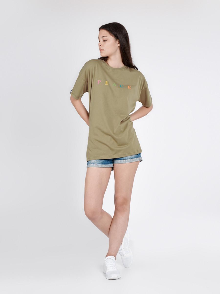 244bf4d10db Модная женская футболка PEACE OLIVE Urban Planet (футболки