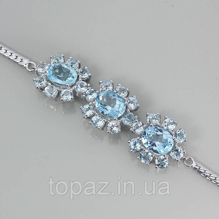 Браслет серебряный 925 натуральный голубой топаз.