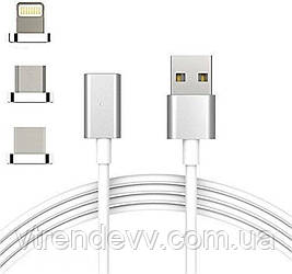 Магнитный кабель для зарядки 3 в 1 (Micro-USB, Lightning-USB, Type-C-USB)