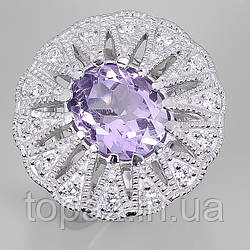 Кольцо серебряное 925 натуральный аметист, цирконий.