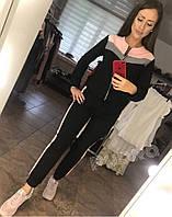 Женский спортивный костюм с люрексом черный. спортивная одежда женская 42, 44, 46, 48