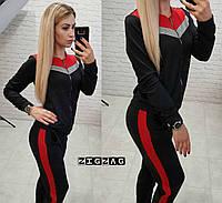 Жіночий спортивний костюм чорний з люрексними вставками.Спортивная одежда  больших размеров женская 676a5743258