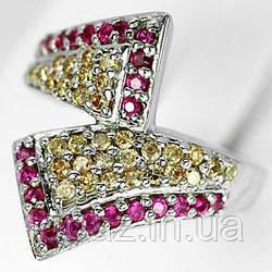 Кольцо серебряное 925 натуральный цитрин, рубин.