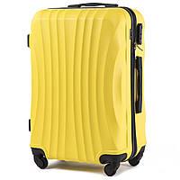 Большой пластиковый чемодан Wings 159 на 4 колесах желтый
