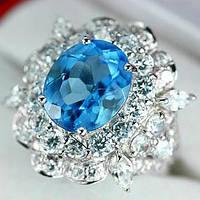 Кольцо серебряное 925 натуральный голубой топаз, цирконий.