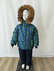 Детский зимний комбинезон для мальчика с натуральным мехом 26-32 принт