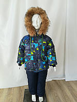Детский зимний комбинезон для мальчиков от производителя  26-32 принтовый