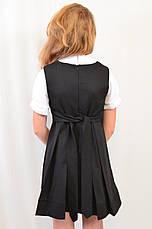 Черный сарафан с вышивкой для девочки в школу, фото 3