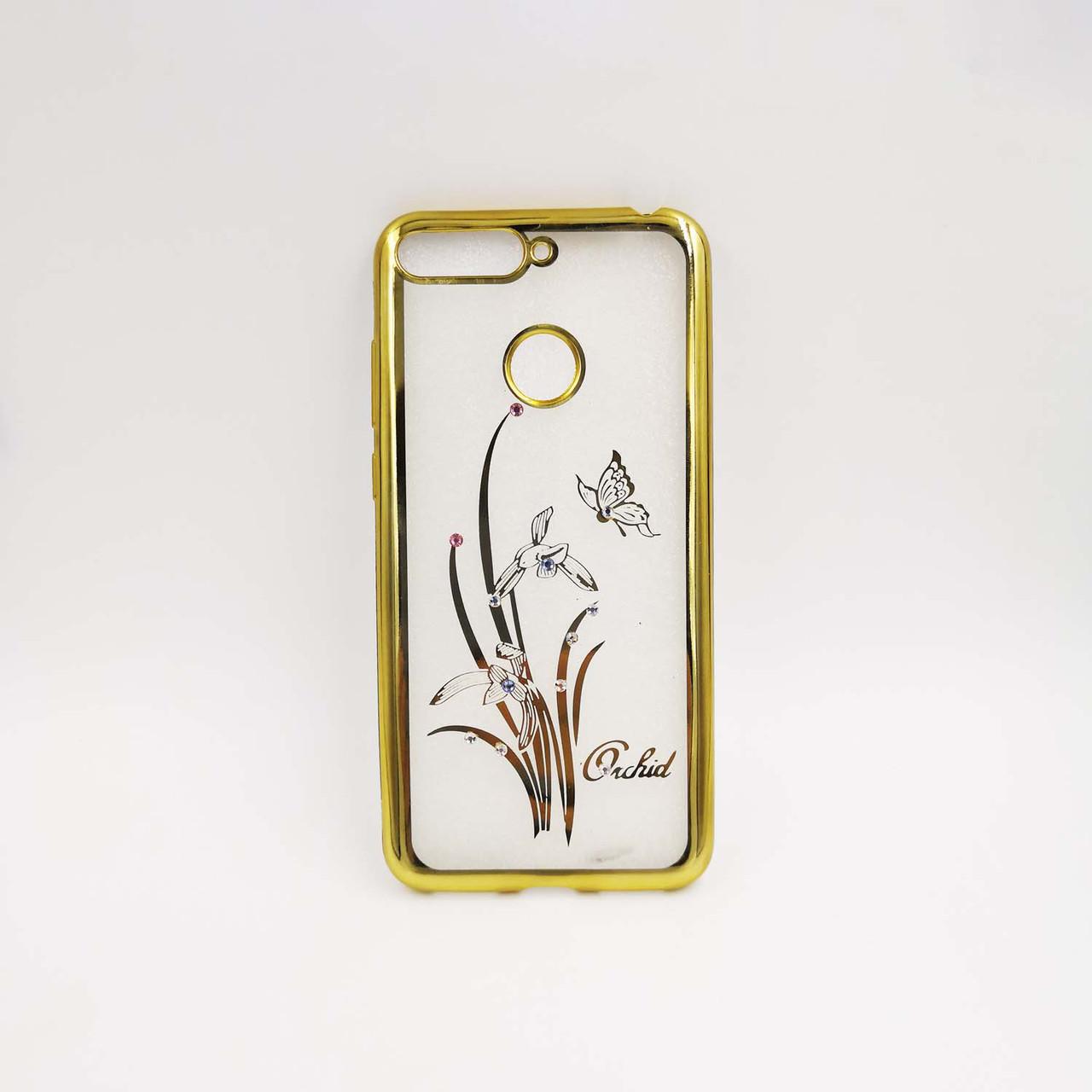 Чехол накладка для Huawei Honor 7C AUM-L41 силиконовый, Beckberg Breathe seria, Бабочка и орхидея