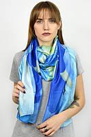 Синий шелковый палантин