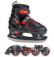 Роликовые коньки Nils Extreme NH7103A 2 в 1 Size 34-37 Black/Red