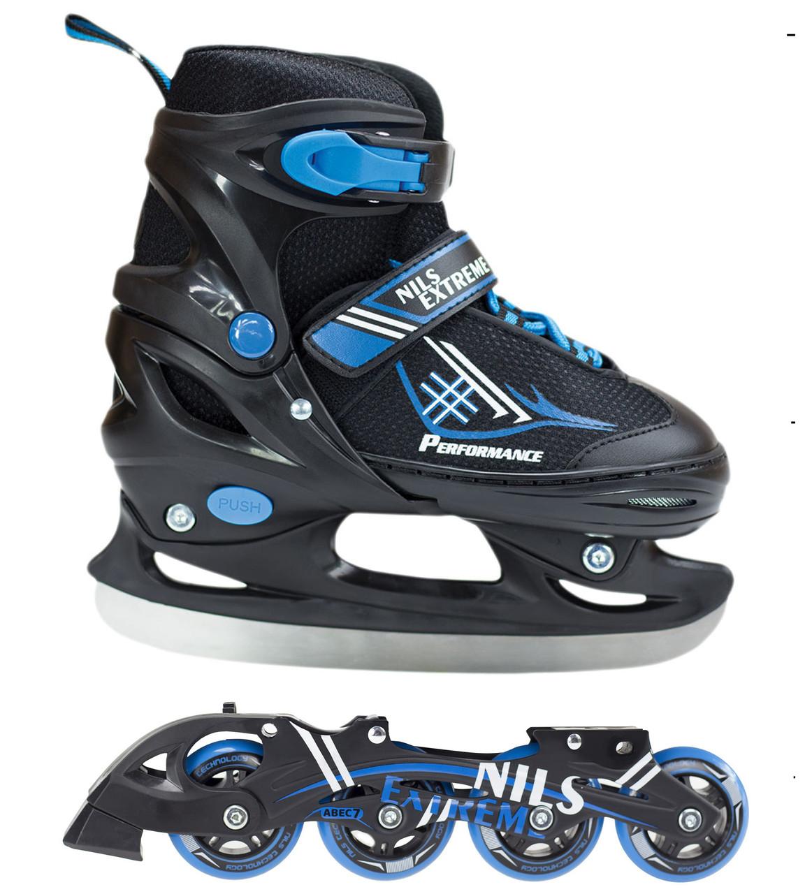 Роликовые коньки Nils Extreme NH7104A 2 в 1 Size 30-33 Black/Blue