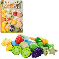 Игровой набор продукты на липучке фрукты или овощи 8 шт, досточка, нож, TP232-36