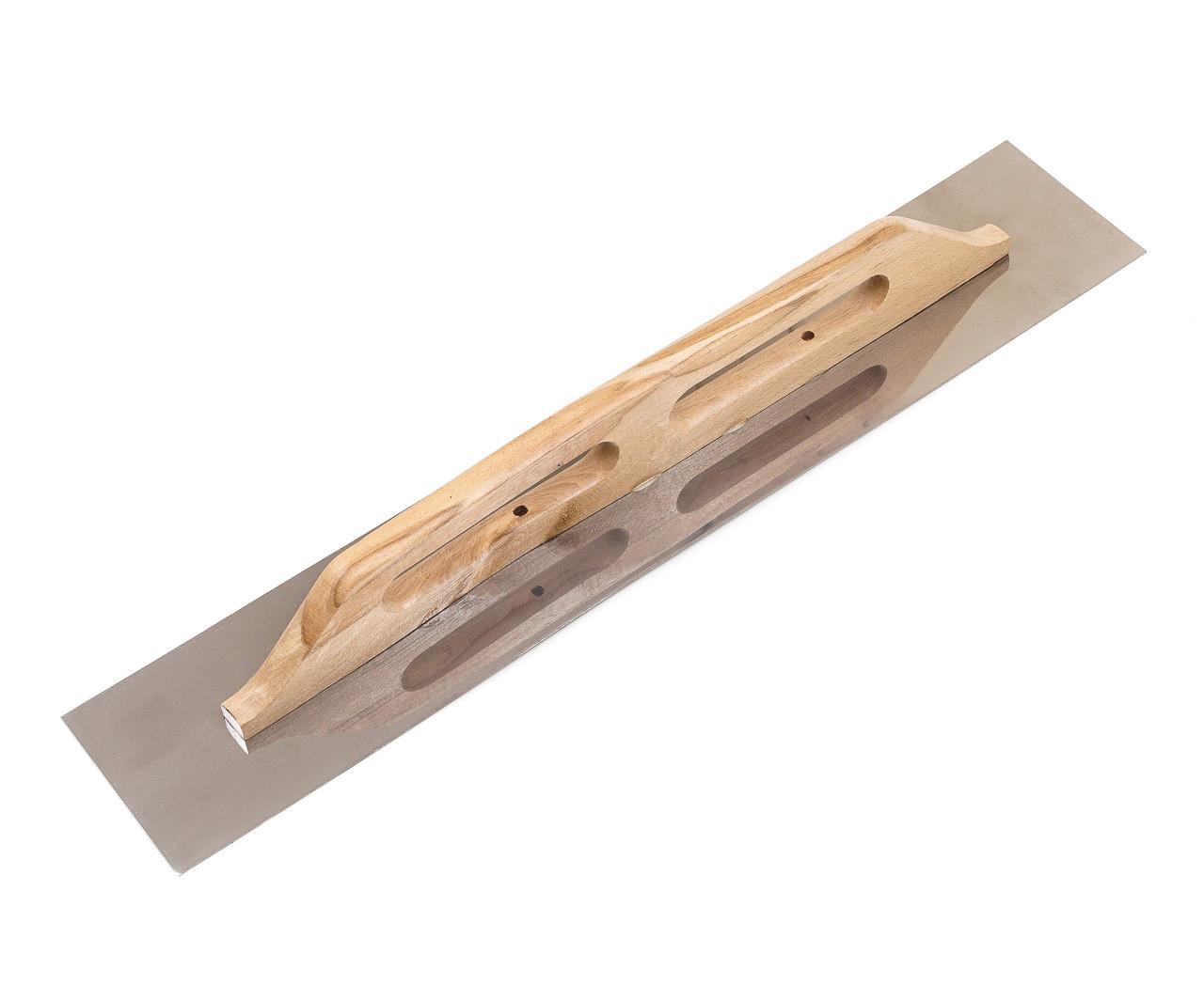 Терка нержавеющая Polax гладкая 125 x 680 мм (100-095) деревянная ручка
