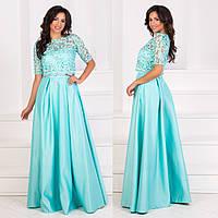 """Атласное вечернее платье длинное со съемной кофтой """"Агата люкс"""", фото 1"""