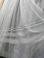 Шифоновый тюль с атласной полосой, белый, фото 1