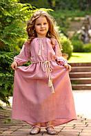 Длинное вышитое нарядное платье для девочки 104