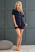 Пижама женская с кантом рубашка и шорты